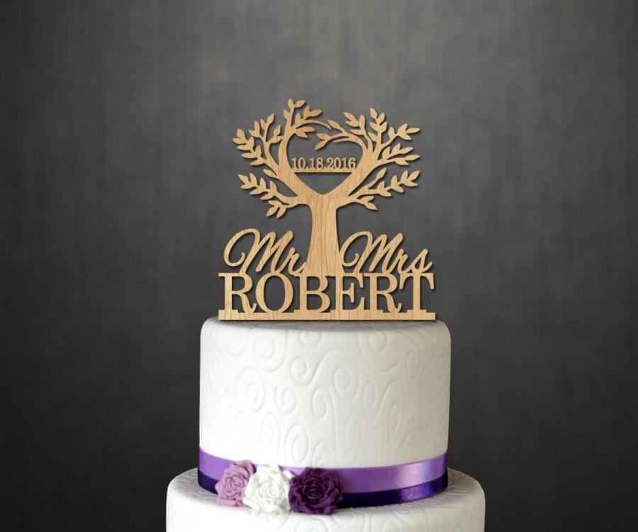 Hochzeit - Life Tree Wood Cake Topper,Wooden Cake Topper with Name,Date Cake Topper,Family Tree and Name,Wedding Cake Topper,Unique Cake Topper W007