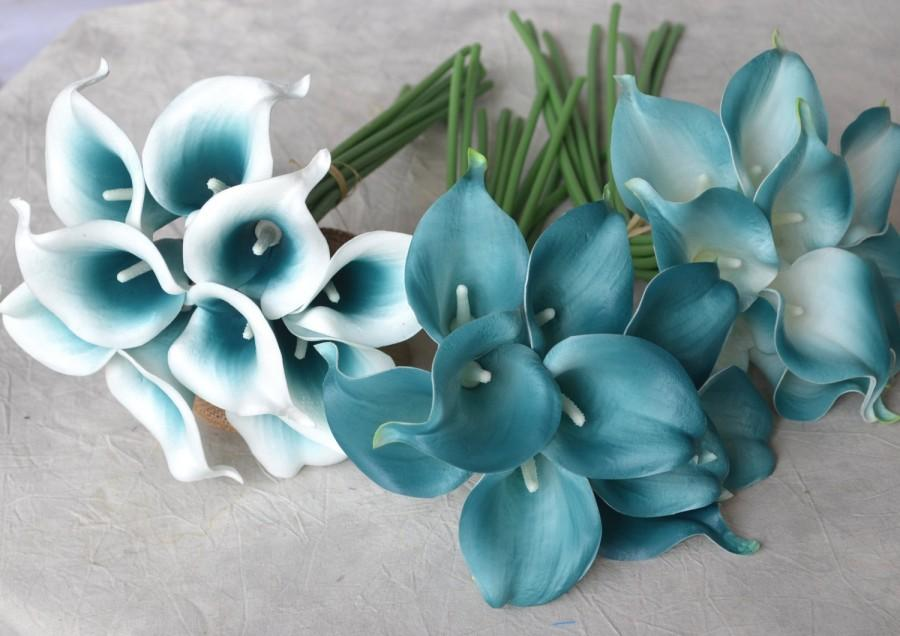 10 Picasso Teal Blue Teal Edge Calla Lilies Real Touch Flowers For