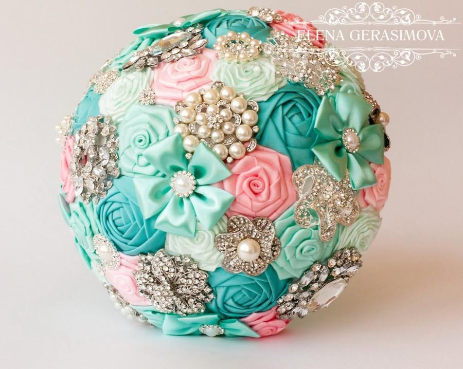 Hochzeit - SALE!!! Brooch Bouquet. Pink blue mint Fabric Bouquet, Unique Wedding Bridal Bouquet