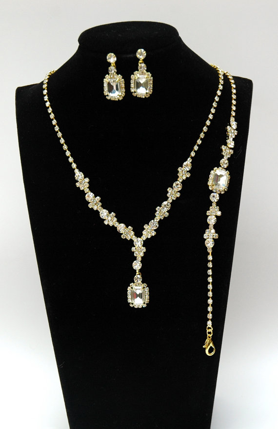 Bridal Necklace Rhinestone Jewelry Set Gold Crystal Wedding Earrings Bracelet