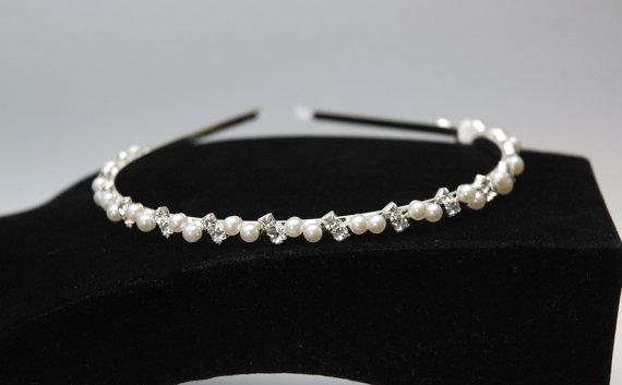 Wedding - Bridal Pearl Headband, Wedding Headpiece, Crystal Headband, Silver Bridal Headpiece, Thin Headband, Rhinestone Headband