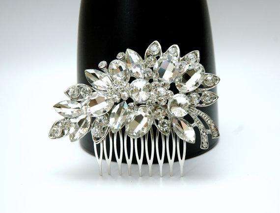 Wedding - Crystal Bridal Wedding Hair Comb, Bridal Comb, Silver Hair Comb, Fall Wedding Headpiece, Rhinestone Headpiece