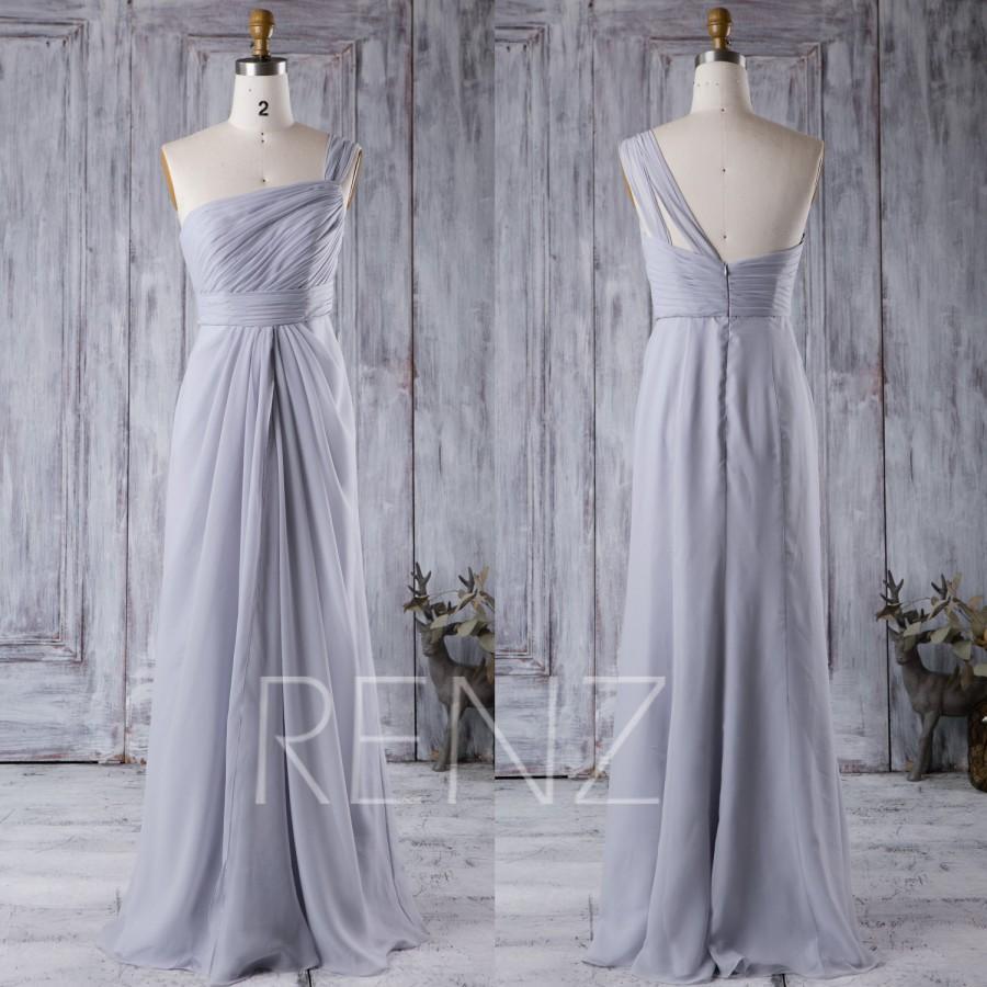 Light Gray Bridesmaid Dresses: 2016 Light Gray Bridesmaid Dress, One Shoulder Wedding