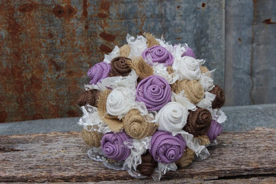 Wedding - Lavender Burlap and Lace Wedding Bouquets Bridal Bouquet for rustic, prairie style, country wedding