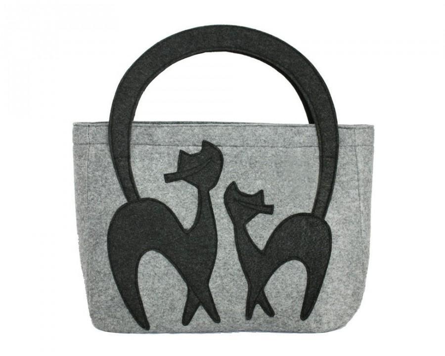 Wedding - Grey Cat Bag Elegant Bag Grey Felted Bag for Woman Wool Felt Bag Girlfriend Gift Christmas Gifts Travel Bag Grey Bag Mom Gift