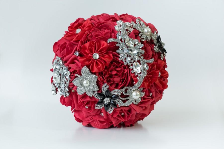 Mariage - Red Foam Roses Peony Bridal Brooch Bouquet - Wedding Bouquet Keepsake Bouquet