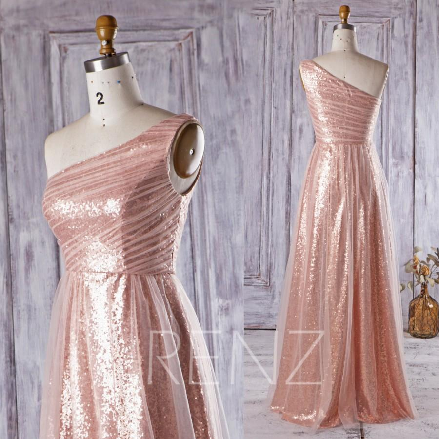 2016 peach mesh bridesmaid dress long rose gold sequin wedding 2016 peach mesh bridesmaid dress long rose gold sequin wedding dress one shoulder prom dress a line evening gown floor length hq303 ombrellifo Gallery
