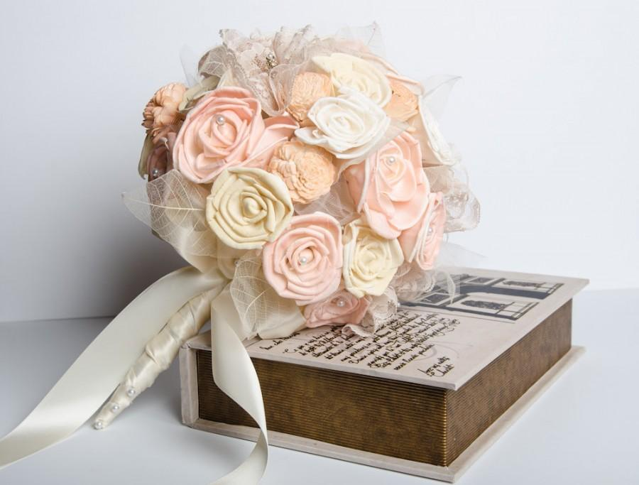Hochzeit - Sola Flower Vintage Bridal Bouquet, Peach lacy Bridal Bouquet, Romantic bouquet, Alternative bouquet, Sola flower bouquet, keep sake bouquet