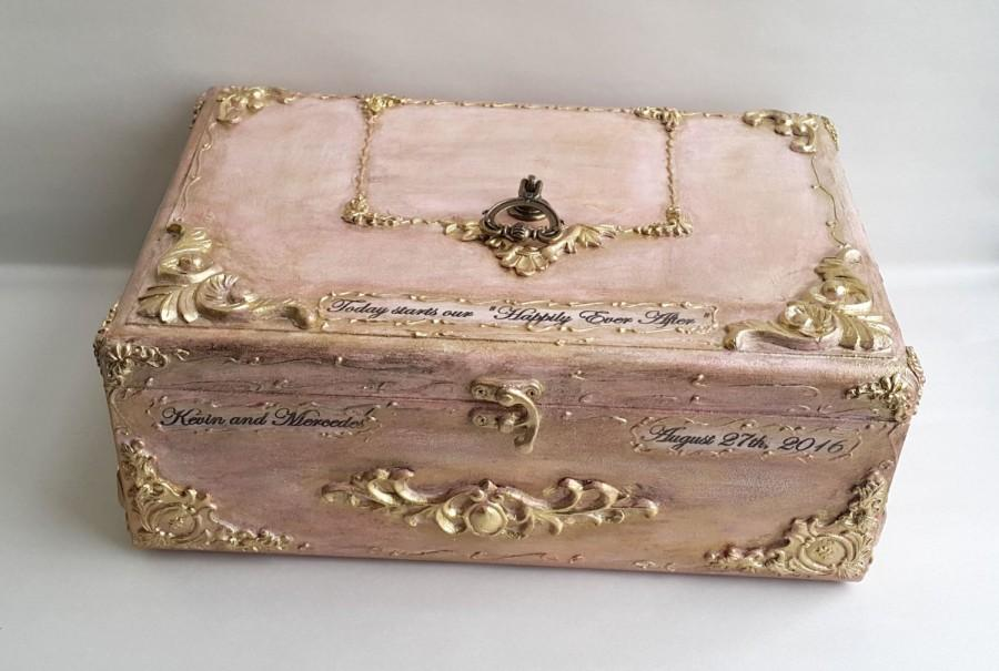 Hochzeit - Blush pink gold wooden wedding card box,Golden vintage baroque ornaments,Personalization-the names and the wedding date. Blush gold card box