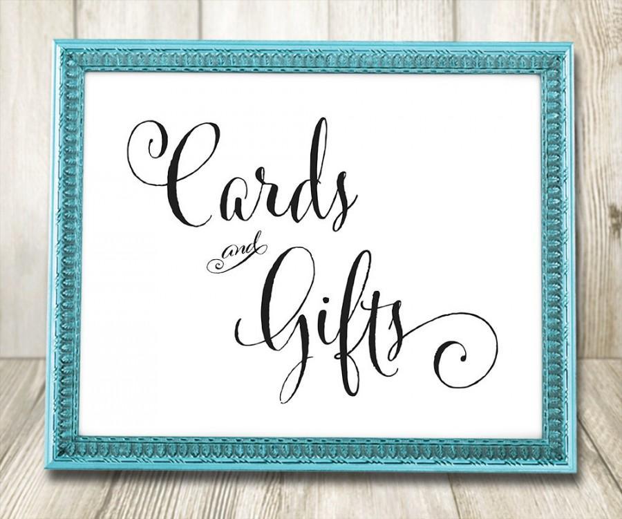 زفاف - Cards and Gifts Wedding Sign, Printable Wedding Signs - INSTANT DOWNLOAD - Printable Elegant Calligraphy Sign