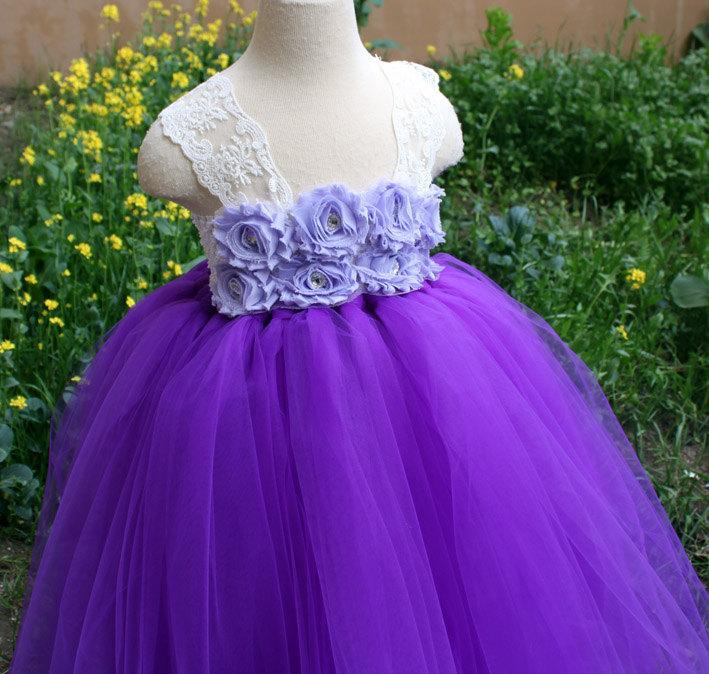 Wedding - Flower Girl Dress Purple lace tutu dress baby dress toddler birthday dress wedding dress 1T 2T 3T 4T 5T 6T