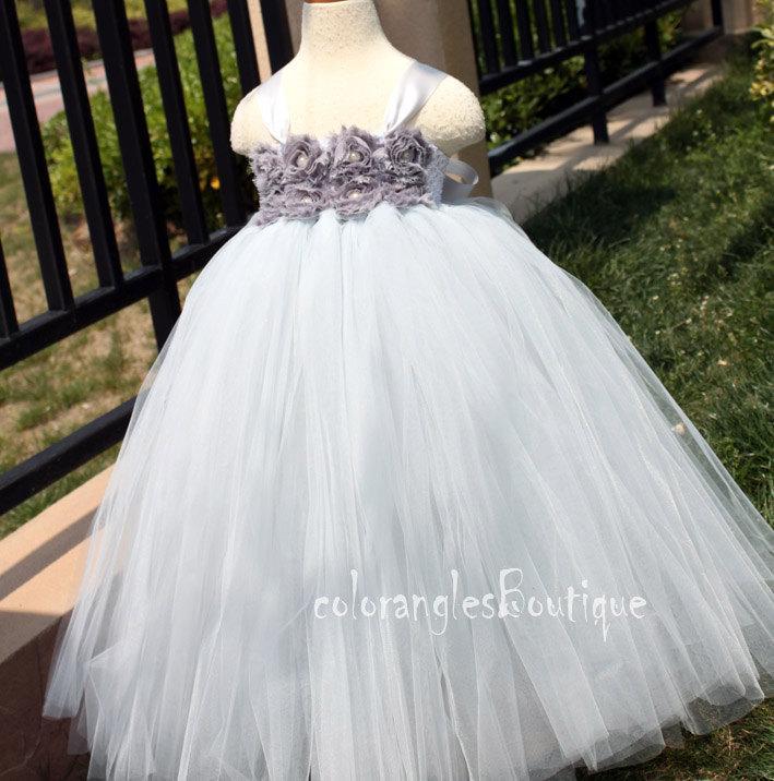 Wedding - Flower Girl Dress Grey tutu dress baby dress toddler birthday dress wedding dress Newborn 1T 2T 3T 4T 5T 6T