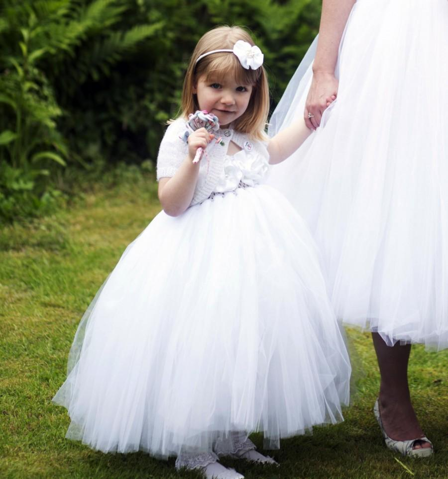 Mariage - Flower Girl Dress White tutu dress baby dress toddler birthday dress wedding dress