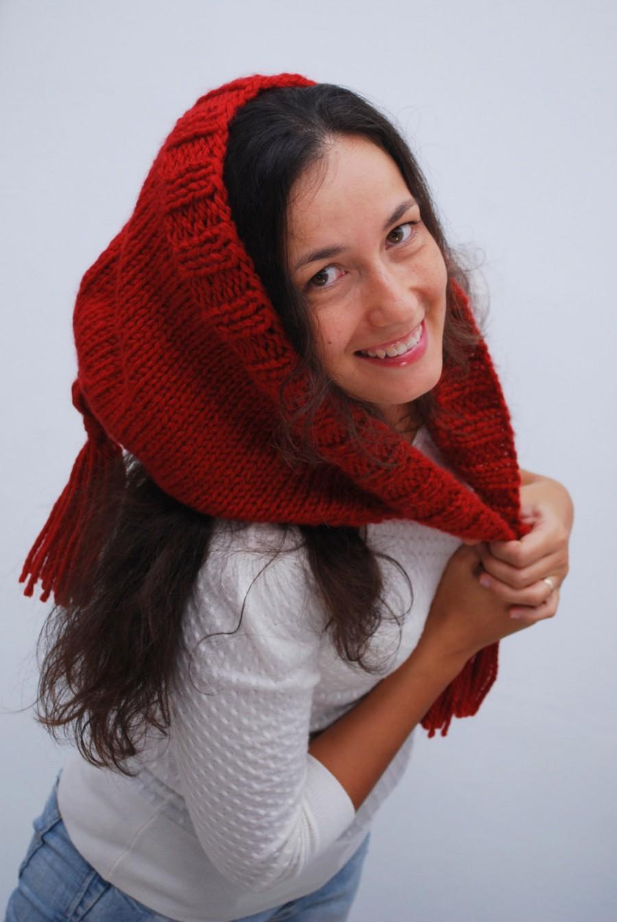 Hochzeit - Brick red knit hood, Chunky unique hood, Winter soft wool hood, chunky hood, Funny unusual hood, NEW COLLECTION 2017