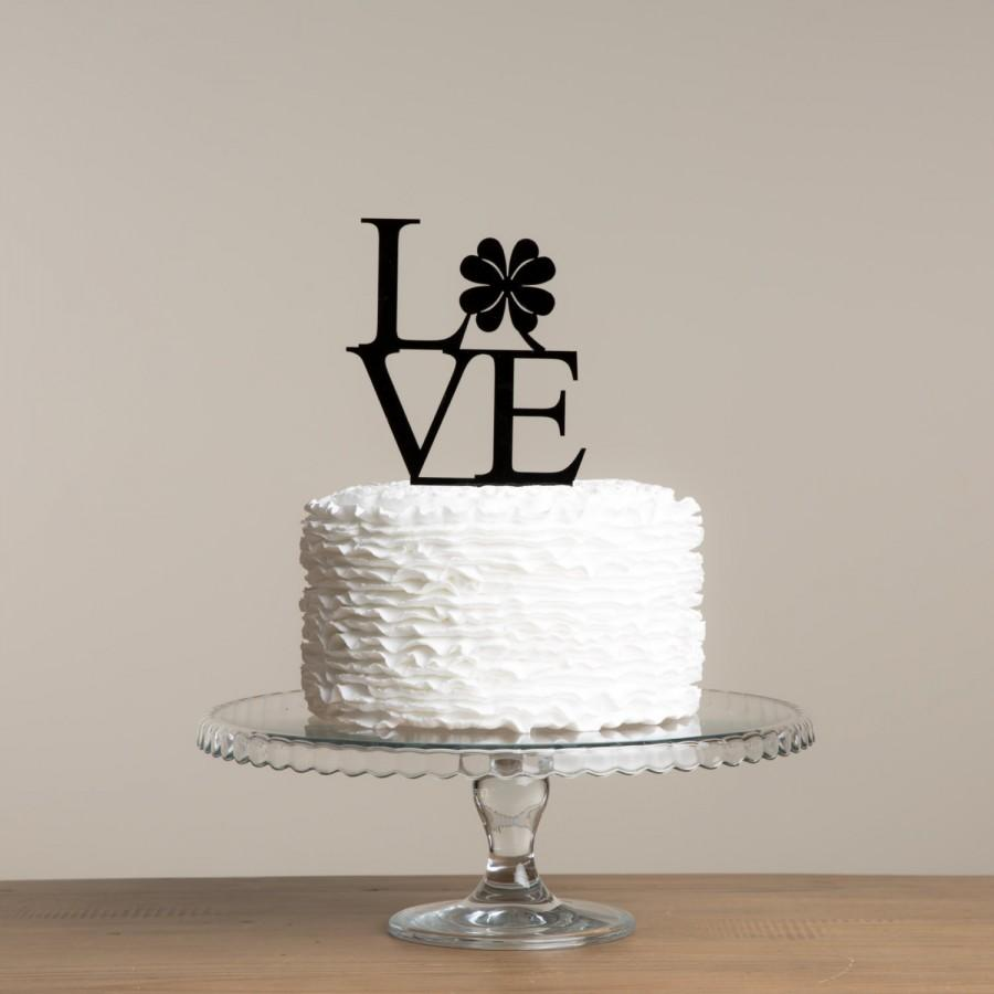 Mariage - LOVE Shamrock Clover St. Patricks Day Themed Cake Topper Made in the UK Worldwide shipping 30 plus colours