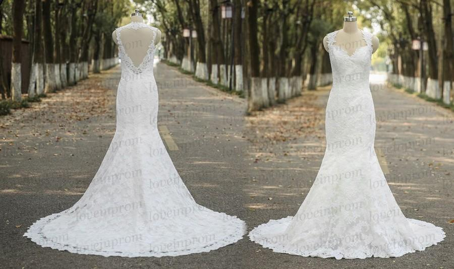 Wedding - Elegant Lace Wedding Dress,White/Ivory Cap Sleeve Lace Bridal Gowns,Handmade Lace Mermaid Wedding Gowns,SweepTrain Lace Dress For Wedding