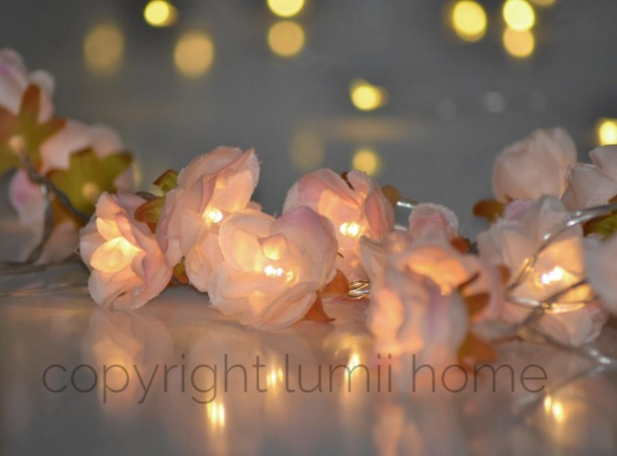 Mariage - Pale pink Rose Flower Fairy string warm white LED Lights, vintage wedding bedroom decoration centerpiece girl birthday gift anniversary