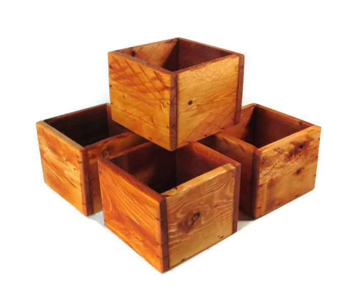 Mariage - Wedding Decorations - Centerpiece - Lot of 5 Small Wood Boxes - Succulent Planters