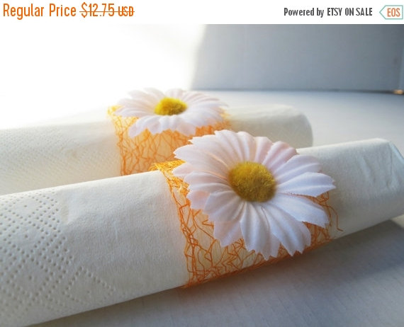 ON SALE 15 Napkin Rings White Daisies Orange Decorative Mesh