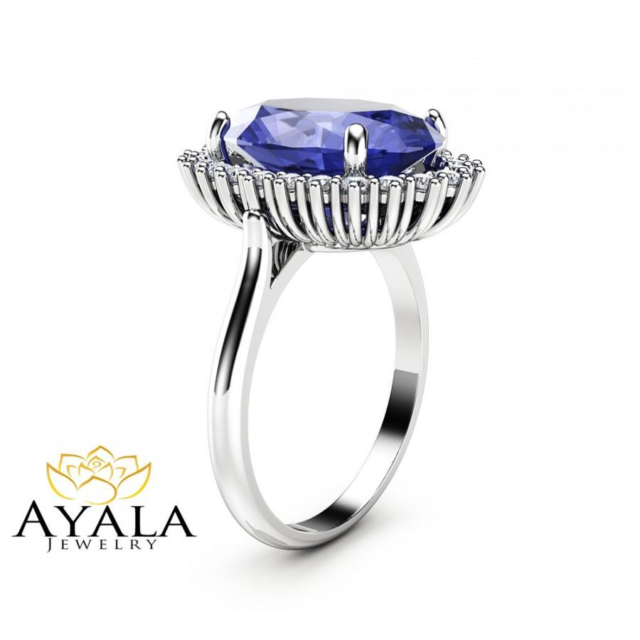 certified ring white diamond emerald cut tanzanite blue lovely gold natural tcw and gia kt