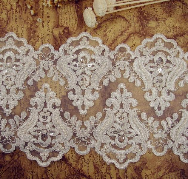 Свадьба - Beaded Lace Trim, Embroidered Lace Trim, Pearl Lace Fabric, Ivory Lace Trim, 7 inches Wide for  Dress, Costume, Veiling, Craft Making, 1Yard