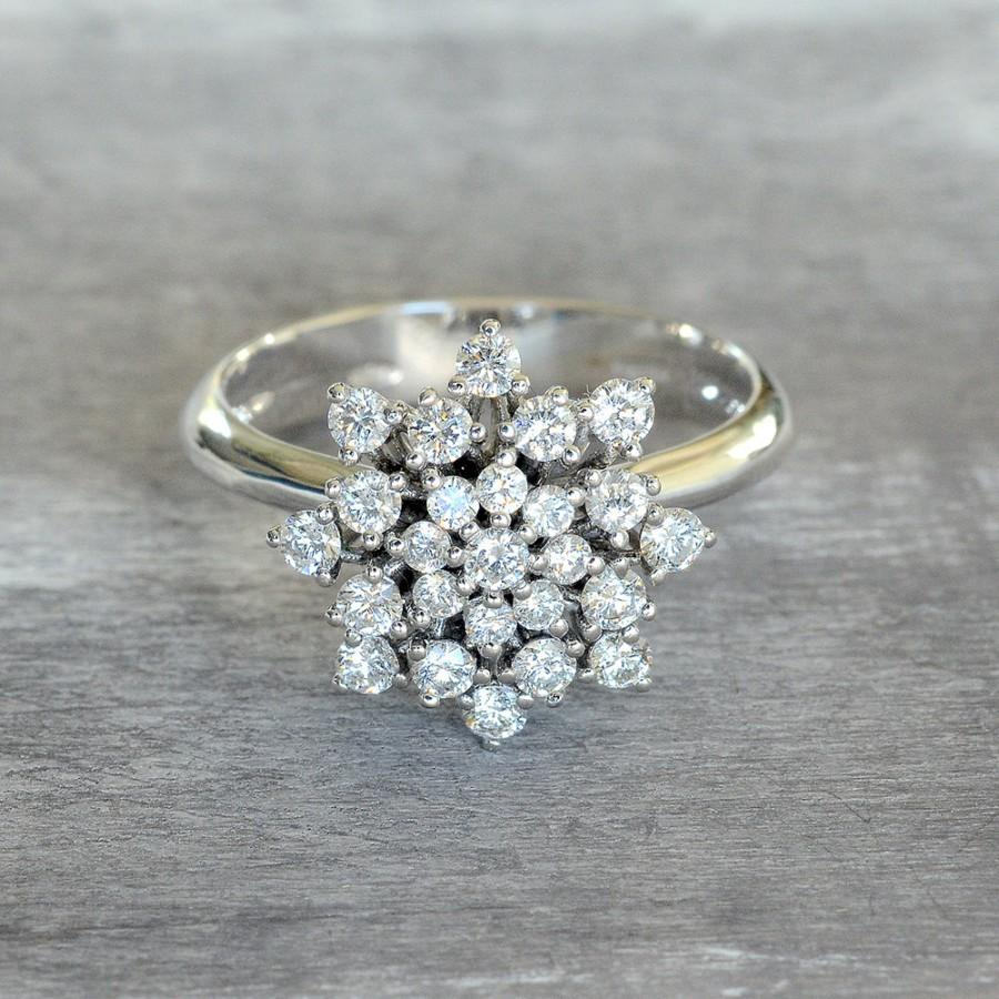 Mariage - Diamond Engagement Ring, Promise Ring for Her, 18k Gold Ring, April Birthstone Rings, White Gold Diamond Ring, Classic Halo Ring