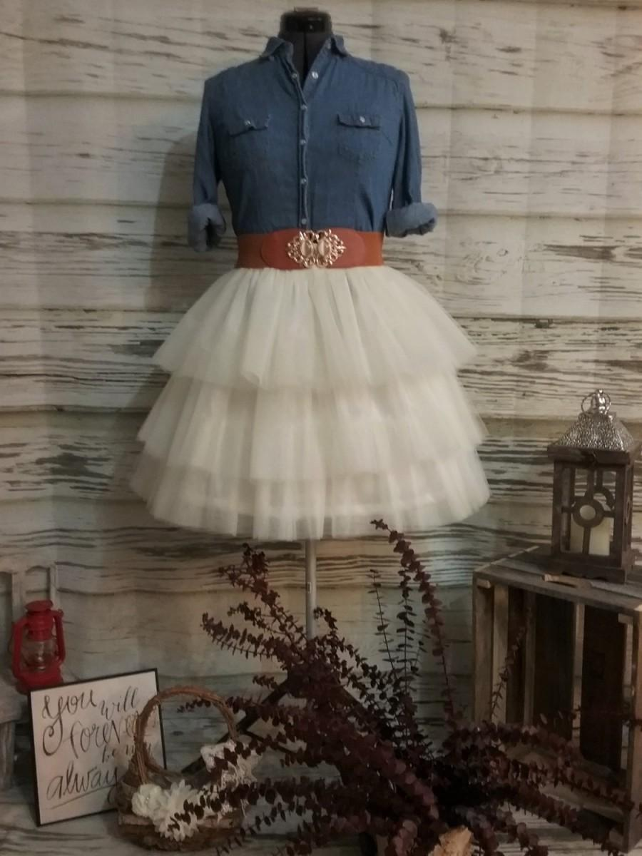 Wedding - Free Shipping to USA Custom Made Adult Ivory  Tiered Tulle Skirt -for bridesmaid, Country Wedding,Rustic Wedding for Bridesmaid ,photo prop
