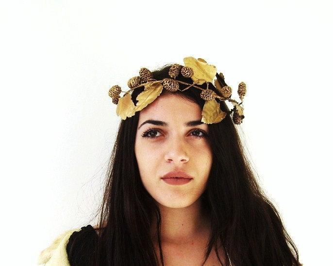 زفاف - Bohemian Bride Wedding Hair Accessories Golden Wreath Leaf Crown Gold Bridal Headpiece Greek Grecian Goddess Glamour Forest Nymph Woodland