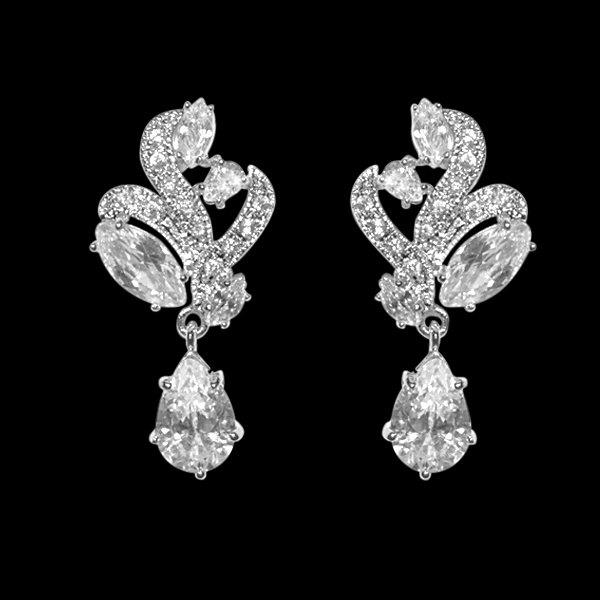 Mariage - Art Deco wedding earrings 1930s 1940s Vintage style crystal swirl drop bridal earrings wedding jewellery