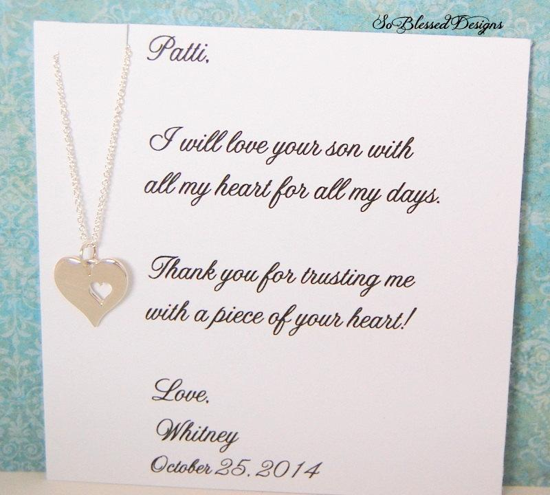 Mother Of The Groom In Law Wedding Gift Necklace From Daughter To Future Heart Cutout
