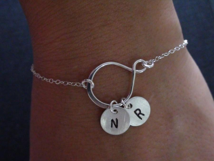 10 Off Personalized Initial Bracelet Sterling Silver Eternity Friendship Family Bridesmaids Gift Wedding