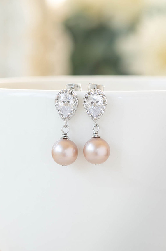 Mariage - Wedding Bridal Pearl Earrings Silver Plated Cubic Zirconia CZ Crystal Mauve Blush Pink Pearl Post Earrings Blush Wedding Bridesmaid Earrings