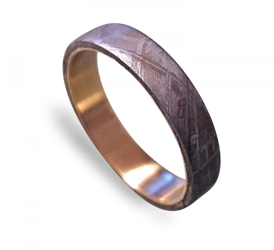 Wedding - 14k Gold Ring, Gold Band inlaid with Gibeon Meteorite, Gibeon Meteorite Ring, Gold Wedding Ring