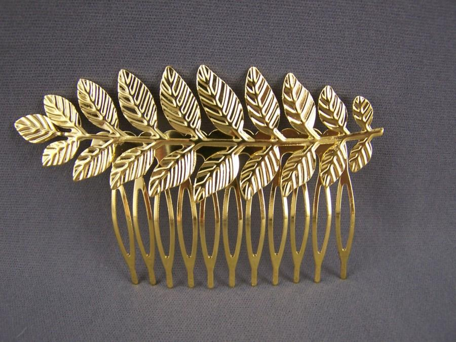 "Свадьба - Gold tone laurel leaf leaves metal side clip hair comb french twist 2.75"" wide goddess athena toga costume branch"