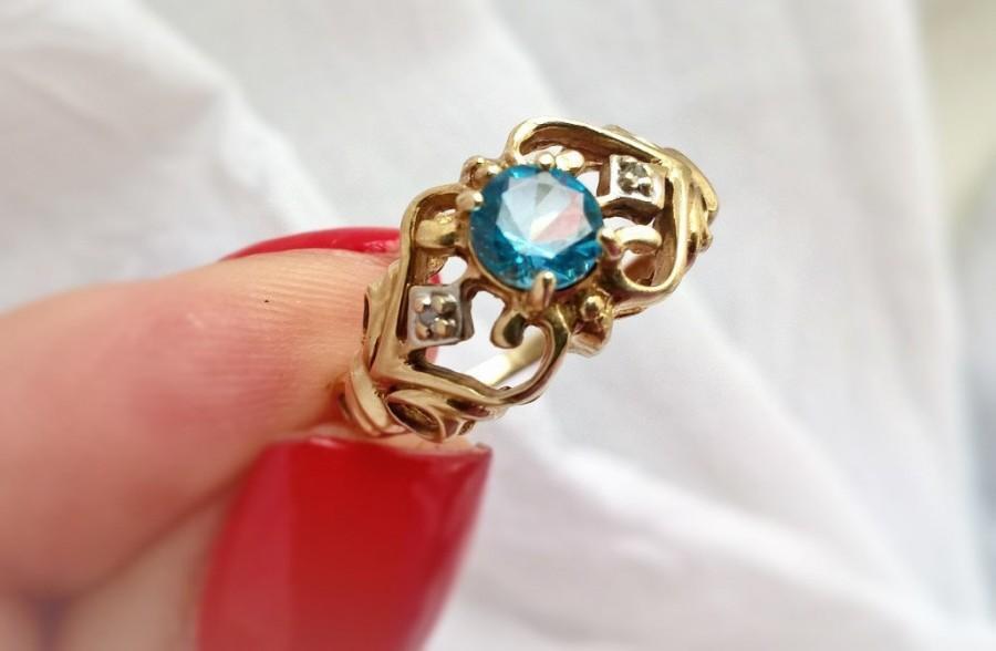 Свадьба - Gatsby Era Art Deco Nouveau Blue Zircon Diamond 10K YG Filigree Ring! Vintage Estate Statement December Birthstone Right Hand Engagement!