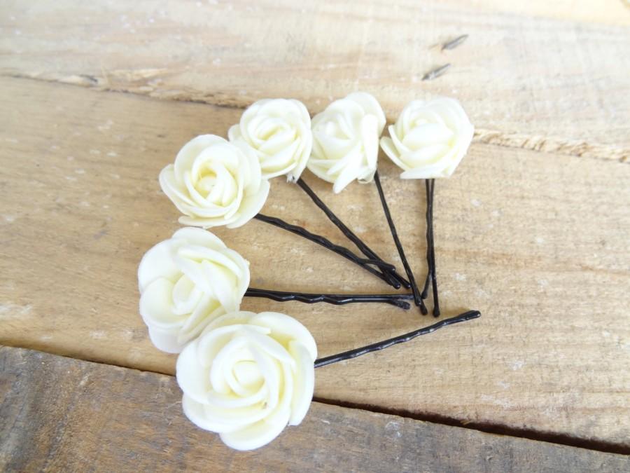 Свадьба - Ivory  Rose Wedding Hair Pins, Ivory Bridal Hair Pins, Hair Accessories, Bridesmaid Hair, Woodland - Set of 8