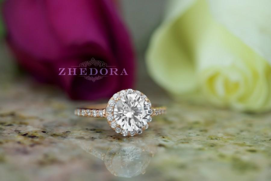 Wedding - 2.30 CT Engagement Ring Round Cut Halo Solid 14K or 18K Rose Gold Bridal Bridal