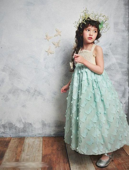 Wedding - Girl's Vintage Aqua Blue / Pink Chiffon Fluttering Butterfly Long Flower Girl Portrait Beach / Rustic Wedding 2016 NEW Dress