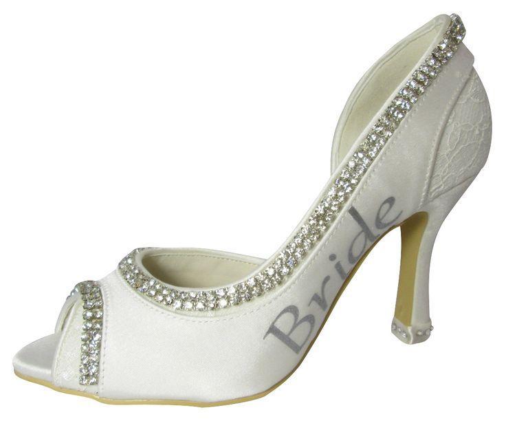 012359e6eb29 Bling Bride Heels Rhinestone Wedding High Heels Ivory Peep Toe Bridal Shoe  Stiletto Open Toe All Sizes 2   3.5   4.5 Inch