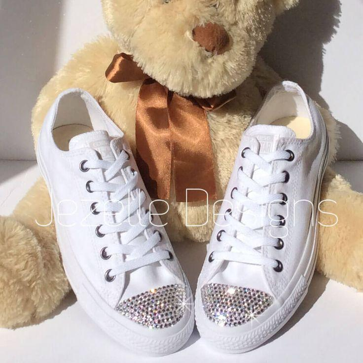 71c4e5f90103 Womens ALL White Bedazzled Converse  Glitter Converse Shoes With Genuine Swarovski  Crystals