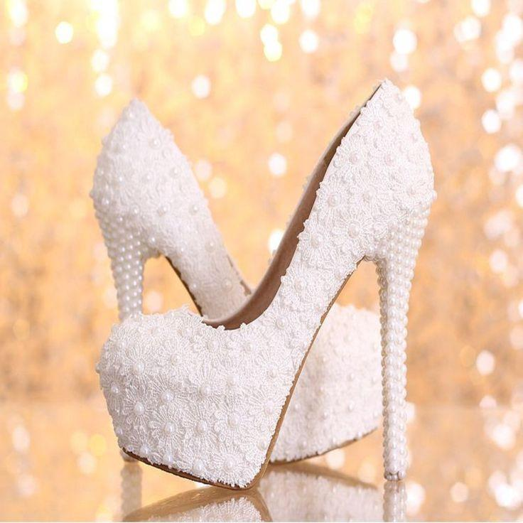 زفاف - Elegant White Floral Lace Pearls Women Wedding Shoes