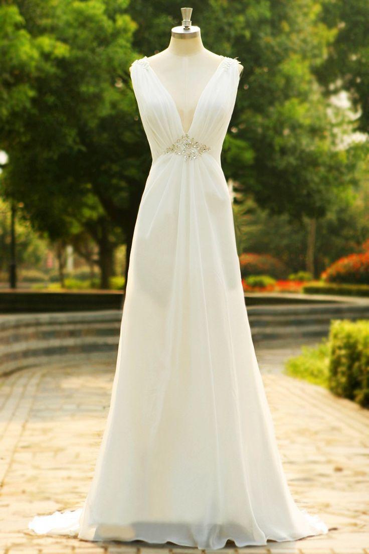 Mariage - Charming V-Neck Long Chiffon Beach Wedding Dress SD07