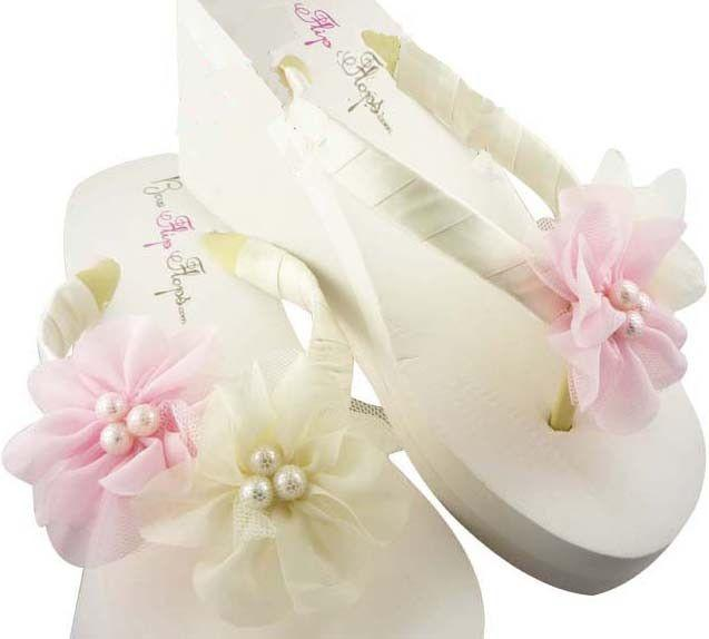 b8bafd03555e41 Wedding Flip Flops -Pink   Ivory Pearl Chiffon Flower - Bride Wedges Bridesmaid  Sandals Shoes