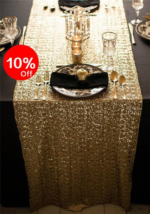 Свадьба - Gold Sequin Table Runner, Sparkly Sequin Runner, Sequin Runner For Christmas party, Custom size and color.