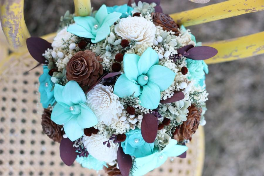 Mariage - Turquoise Bridal Bouquet,Rustic Turquoise Bridal Bouquet,Sola Flowers Bouquet,Keepsake Bridal Bouquet,Alternative Bridal Bouquet,Cedar Roses