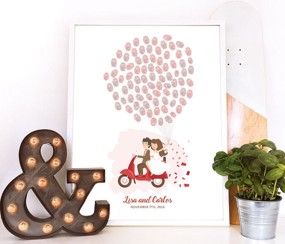 Hochzeit - scooter guest book, motorbike wedding guestbook, moped guest book, thumbprint balloon wedding book, motorbike guest book, thumbprint tree