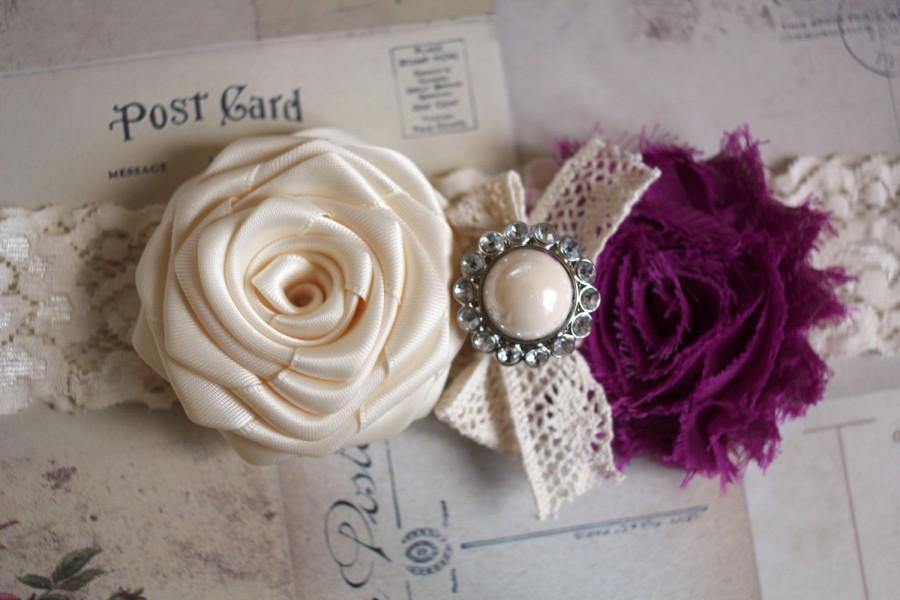 Mariage - CARMEN: Plum Wedding Garter. Ivory Lace Garter . Shabby Chic Garter. Satin Rolled Flower. Rhinestone Pearl Button.