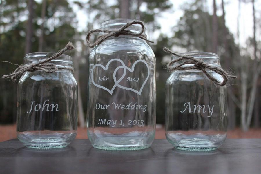 5 piece personalized engraved mason jar sand ceremony set engraved