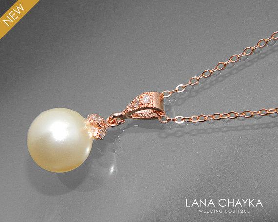 زفاف - Ivory Pearl Rose Gold Bridal Necklace Swarovski 10mm Cream Pearl Necklace Wedding Rose Gold Single Pearl Necklace Bridal Bridesmaids Jewelry