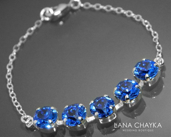 Shire Crystal Bracelet Swarovski Royal Blue Sterling Silver Rhinestone Wedding Bridesmaid Jewelry